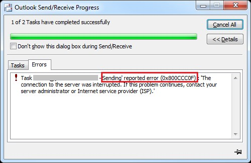 Sending Reported Error (0×800ccc0f) - How to resolve Outlook