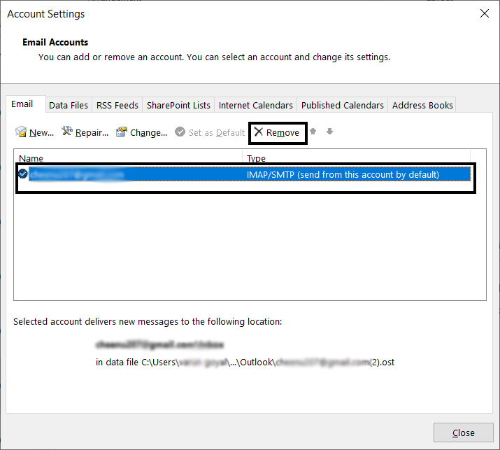 Remove Outlook account