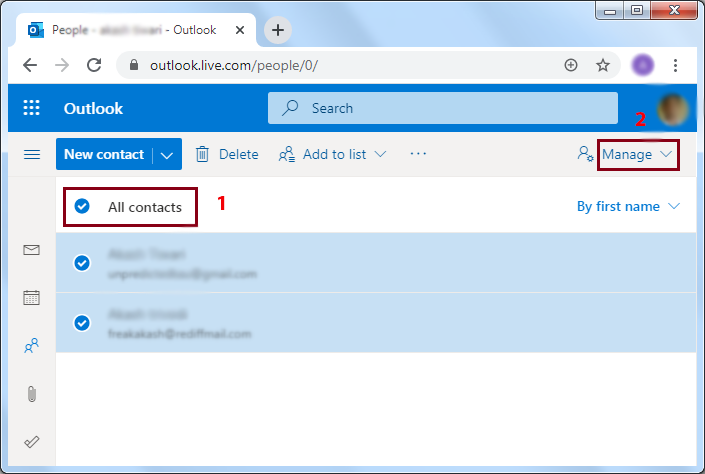Selects the contacts you want to transfer >> Click on Manage.