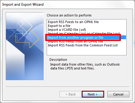 Slect export from another program press next
