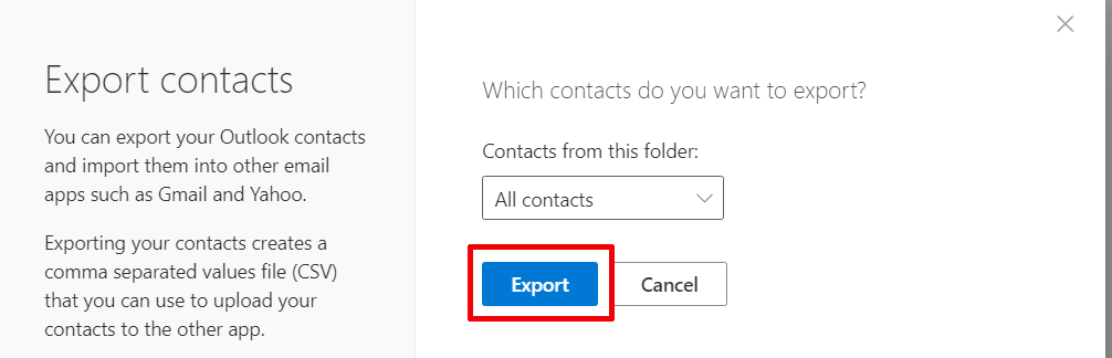 click on Export contacts to Outlook