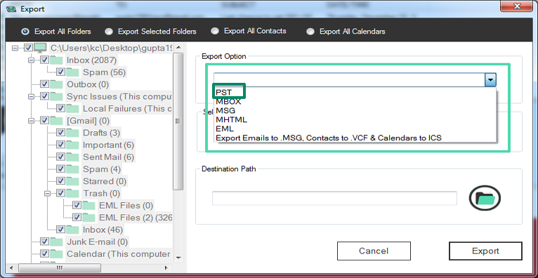 OST to PST converter preview